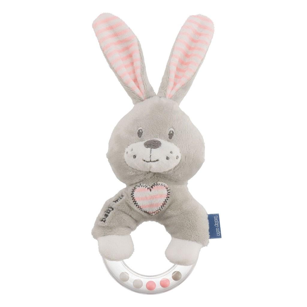 Dětské plyšové chrastítko Baby Mix králík růžový