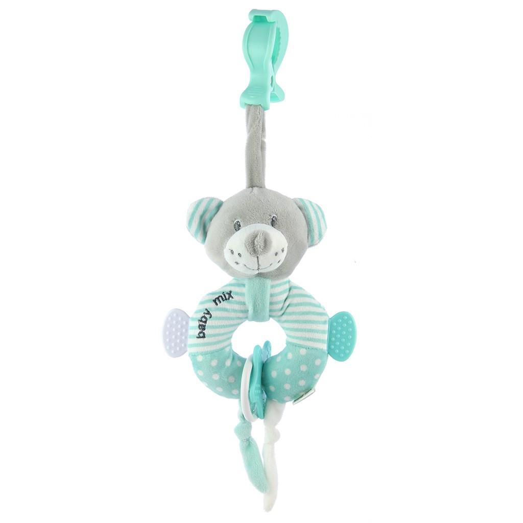Edukační plyšová hračka s klipem Baby Mix medvěd mátový
