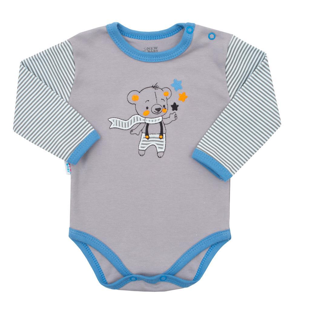 Kojenecké bavlněné body s dlouhým rukávem New Baby Lucky Bear