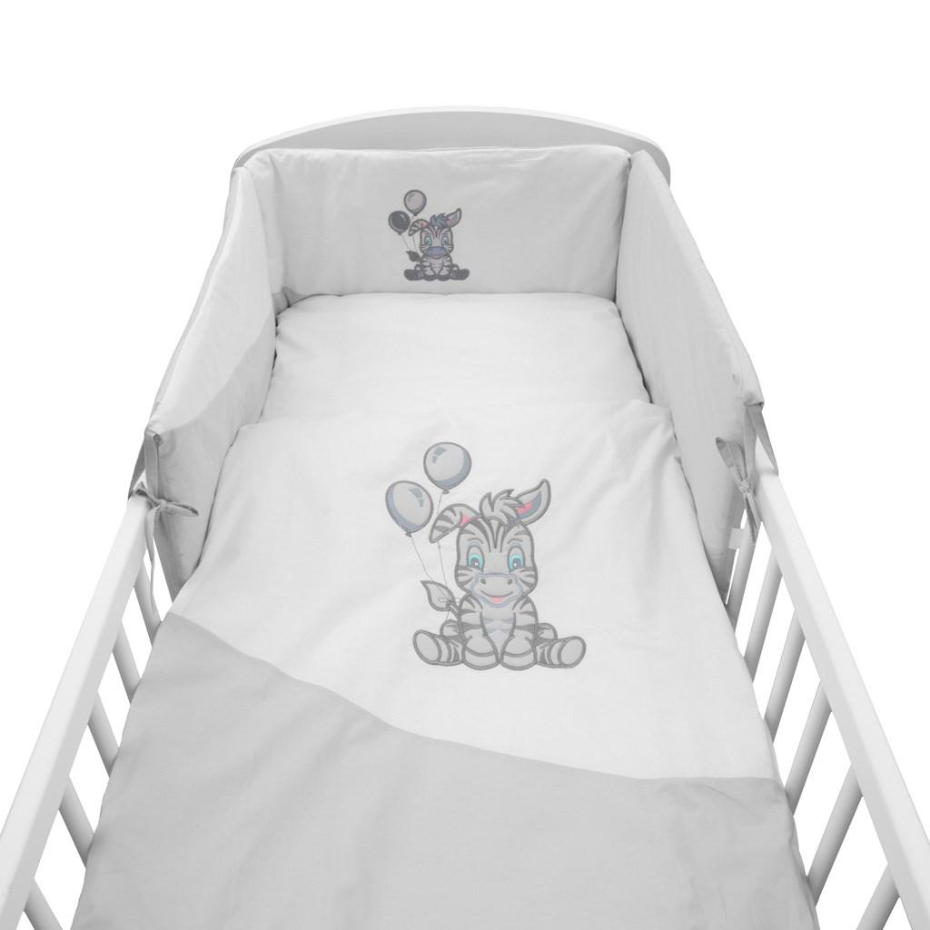 5-dílné ložní povlečení New Baby Zebra exclusive 100/135 bílo-šedé