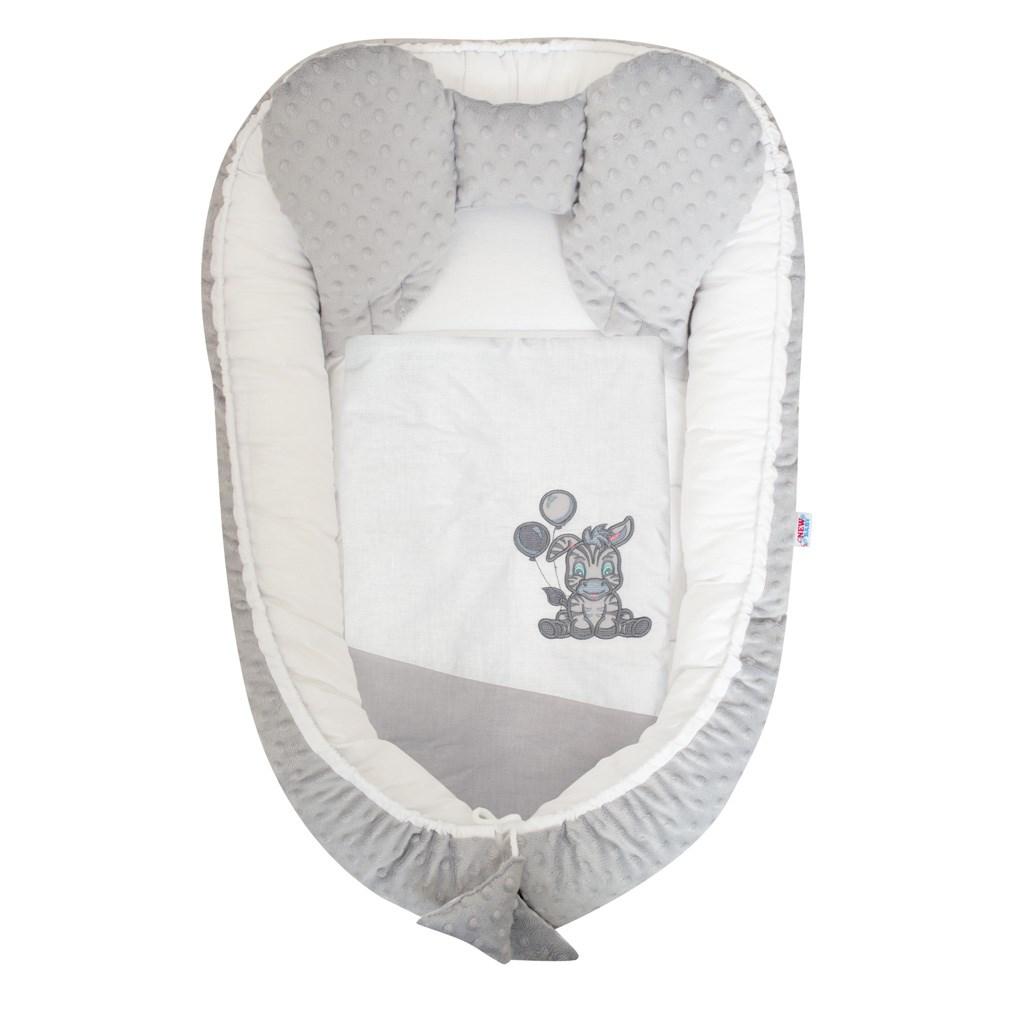 Hnízdečko s peřinkou pro miminko Minky New Baby Zebra exclusive bílo-šedé