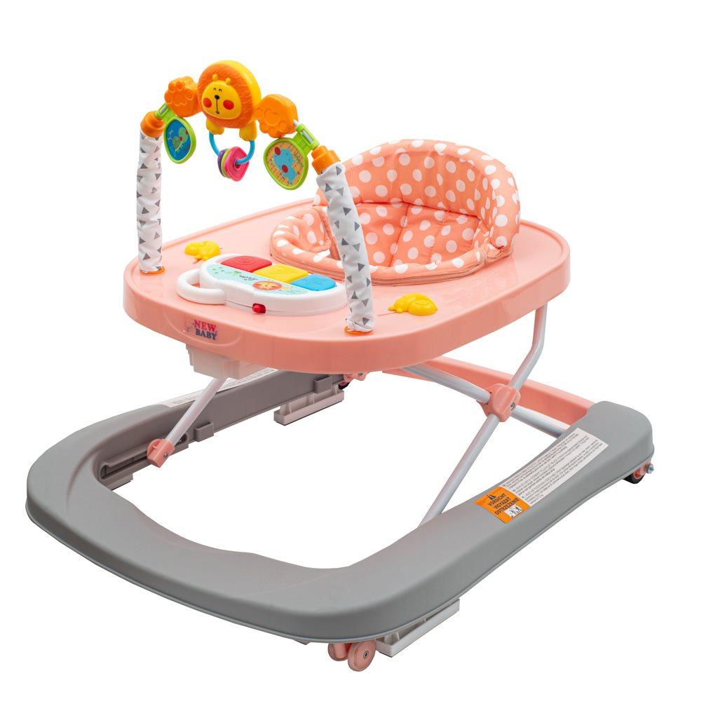 Dětské chodítko se silikonovými kolečky New Baby Forest Kingdom Pink