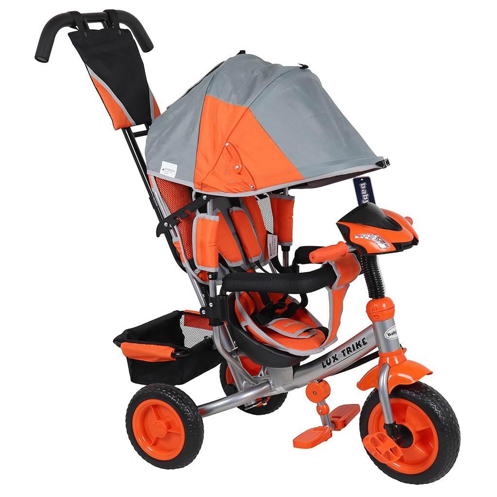 Dětská tříkolka s LED světly Baby Mix Lux Trike šedo-oranžová