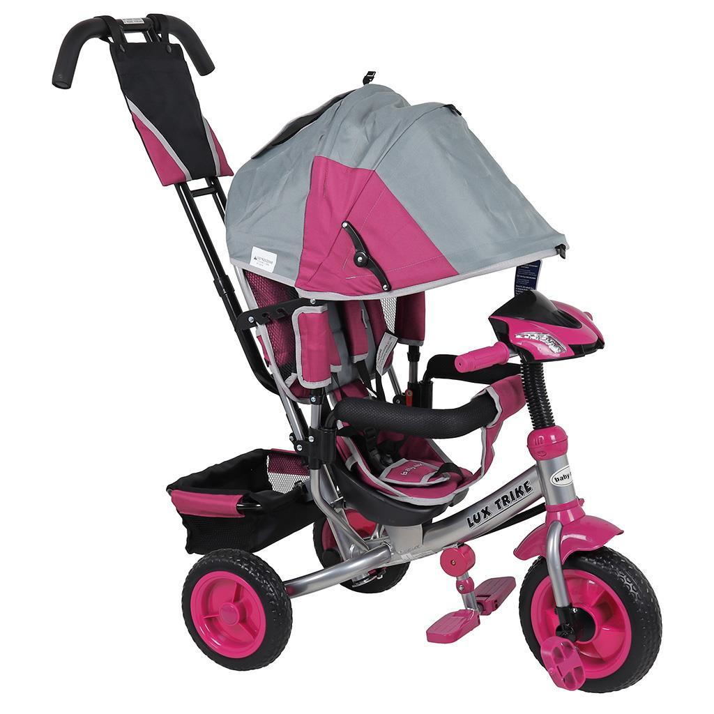 Dětská tříkolka s LED světly Baby Mix Lux Trike šedo-růžová
