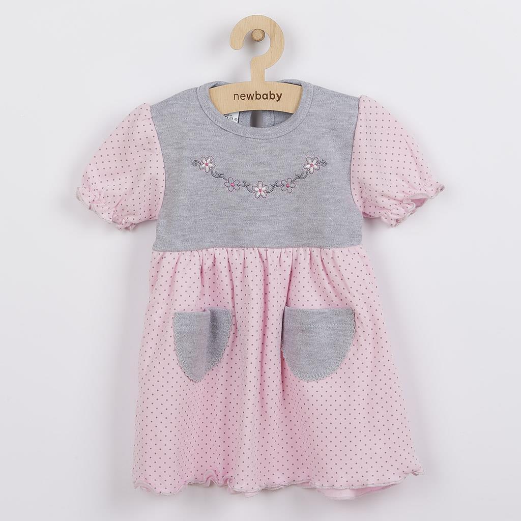 Kojenecké šatičky s krátkým rukávem New Baby Summer dress růžovo-šedé, Velikost: 86 (12-18m)