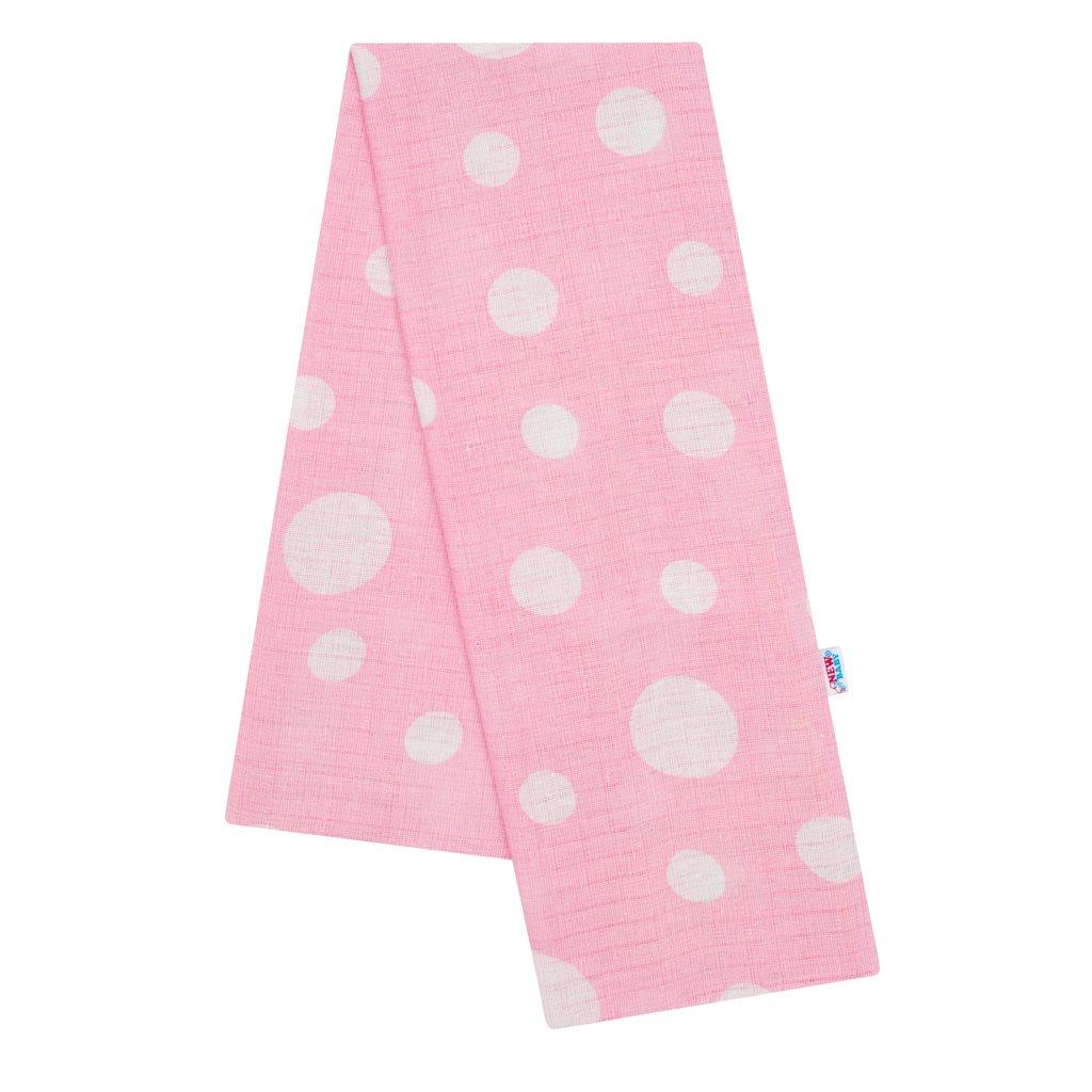 Bavlněná plena s potiskem  New Baby růžová s puntíky