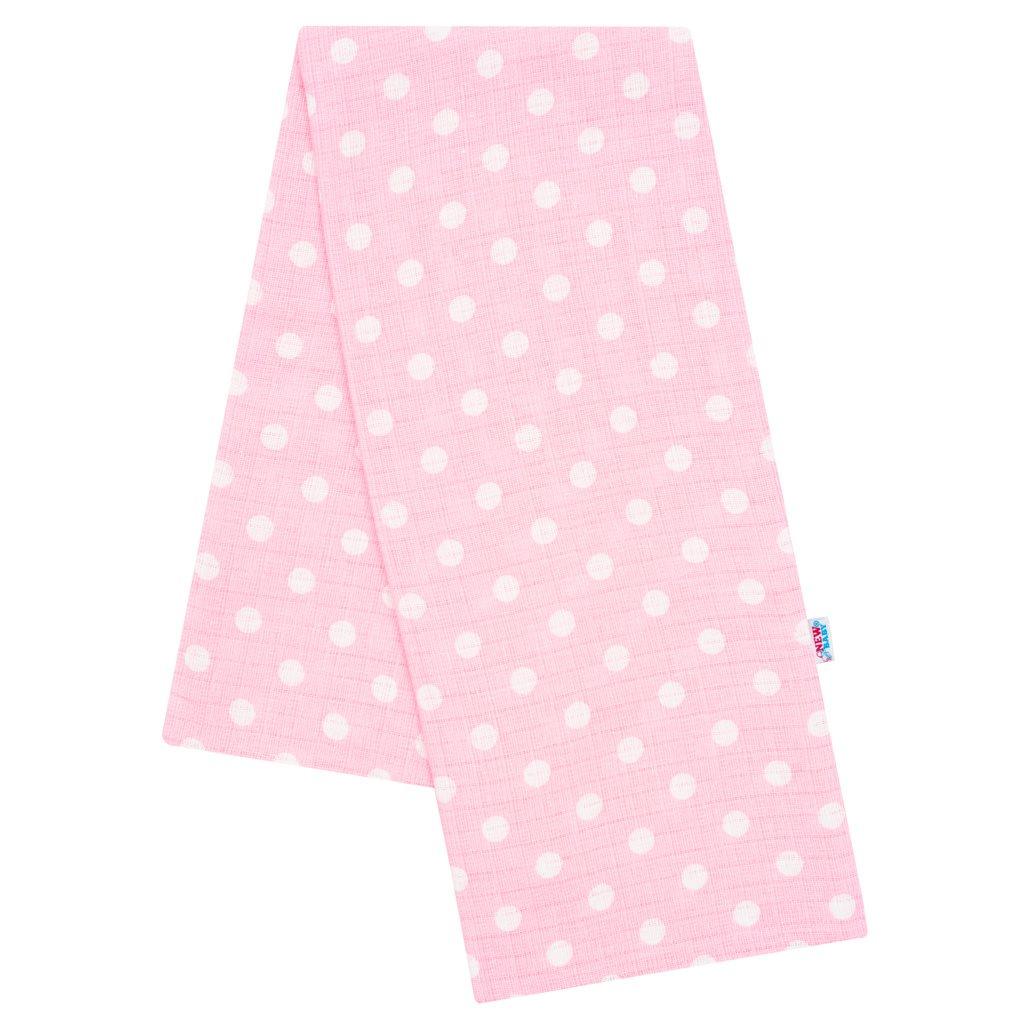 Bavlněná plena s potiskem  New Baby růžová bílé puntíky