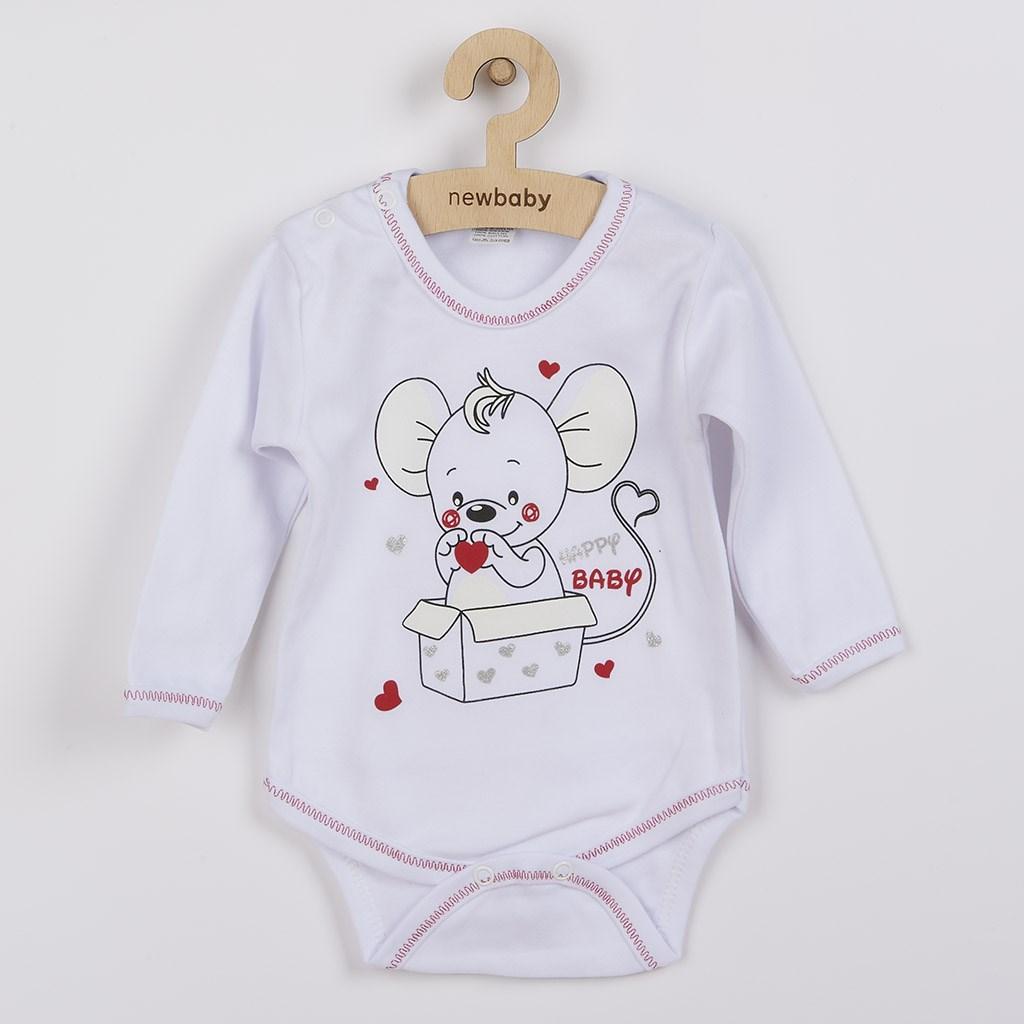 Kojenecké body s dlouhým rukávem New Baby Mouse bílé