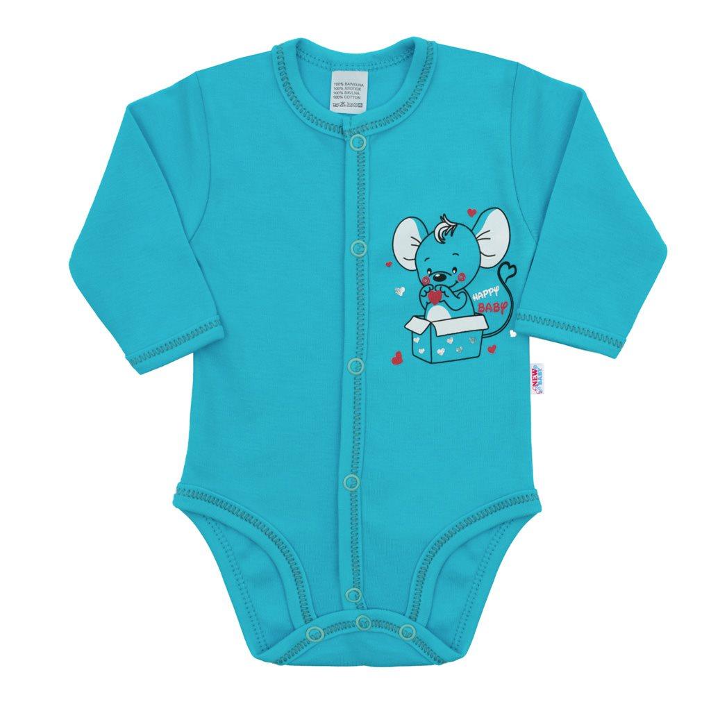 Kojenecké celorozepínací body New Baby Mouse tyrkysové, 56 (0-3m)