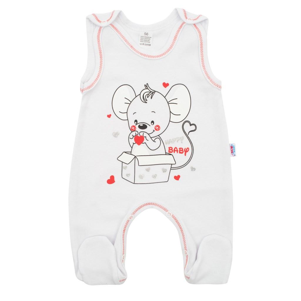 Kojenecké dupačky New Baby Mouse bílé, 62 (3-6m)