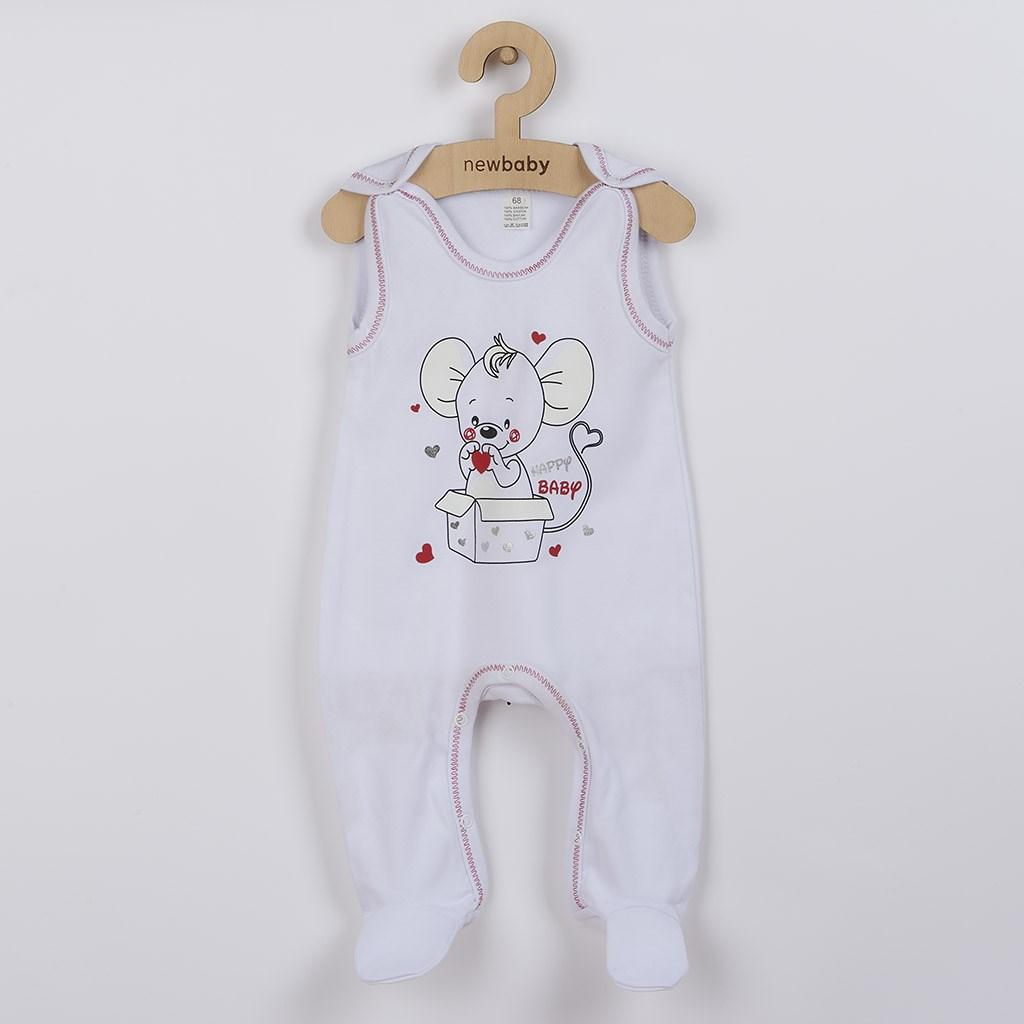 Kojenecké dupačky New Baby Mouse bílé, 68 (4-6m)