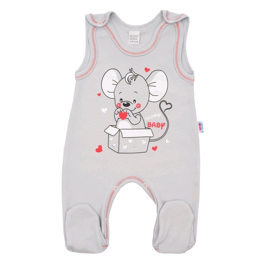 Kojenecké dupačky New Baby Mouse šedé, Velikost: 68 (4-6m)