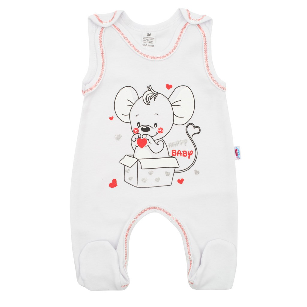 Kojenecké dupačky New Baby Mouse bílé, 86 (12-18m)