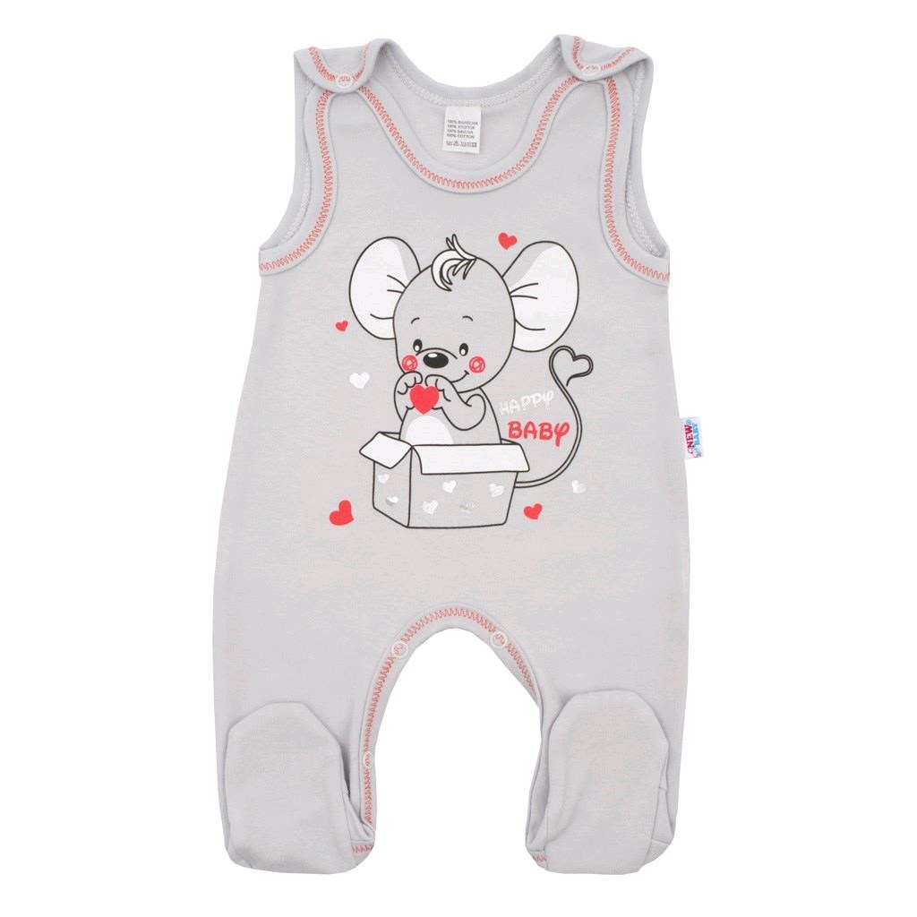 Kojenecké dupačky New Baby Mouse šedé, Velikost: 86 (12-18m)