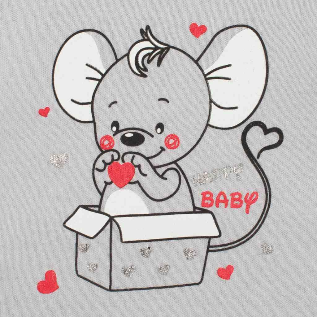 Kojenecká košilka New Baby Mouse šedá