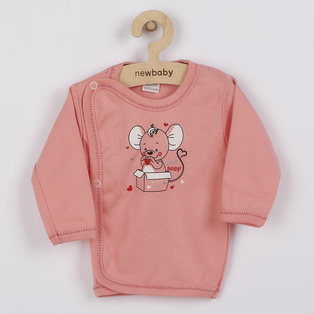 Kojenecká košilka New Baby Mouse lososová, 68 (4-6m)