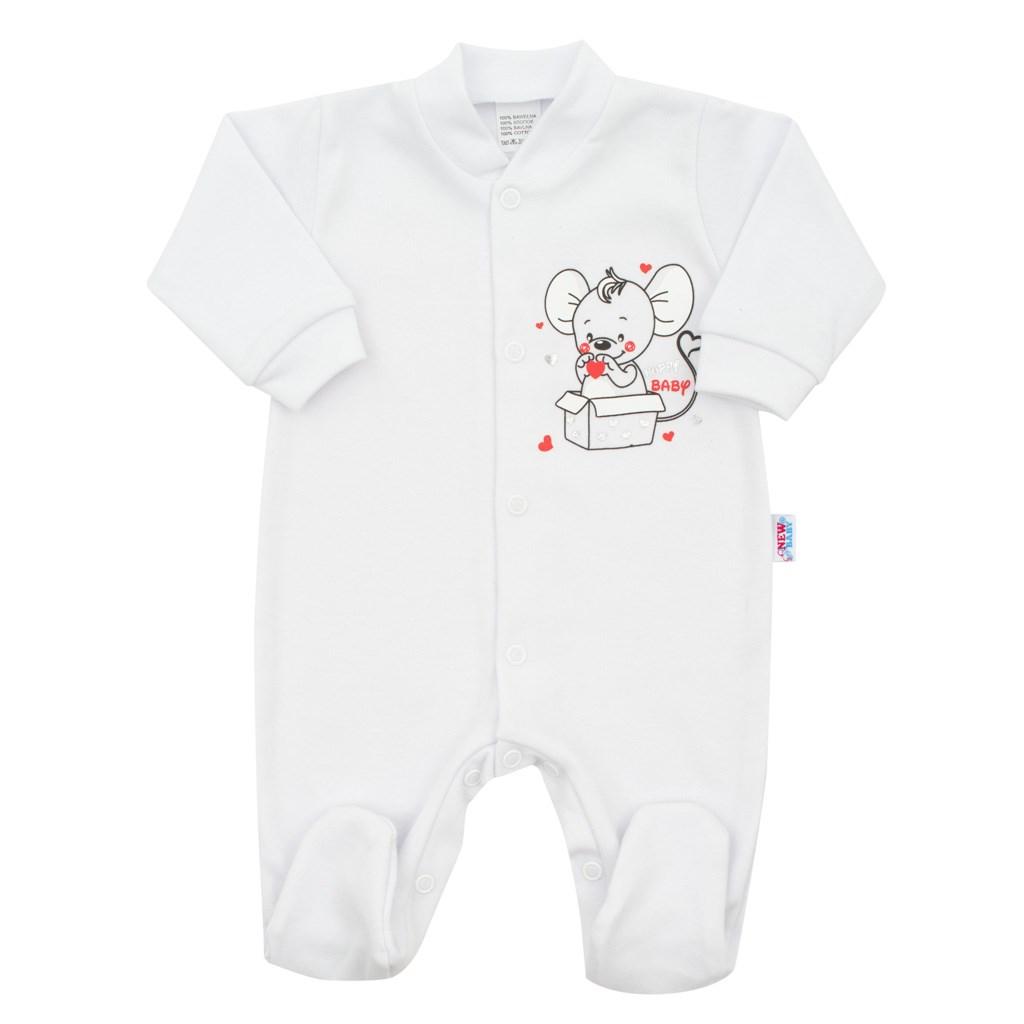 Kojenecký overal New Baby Mouse bílý, Velikost: 56 (0-3m)
