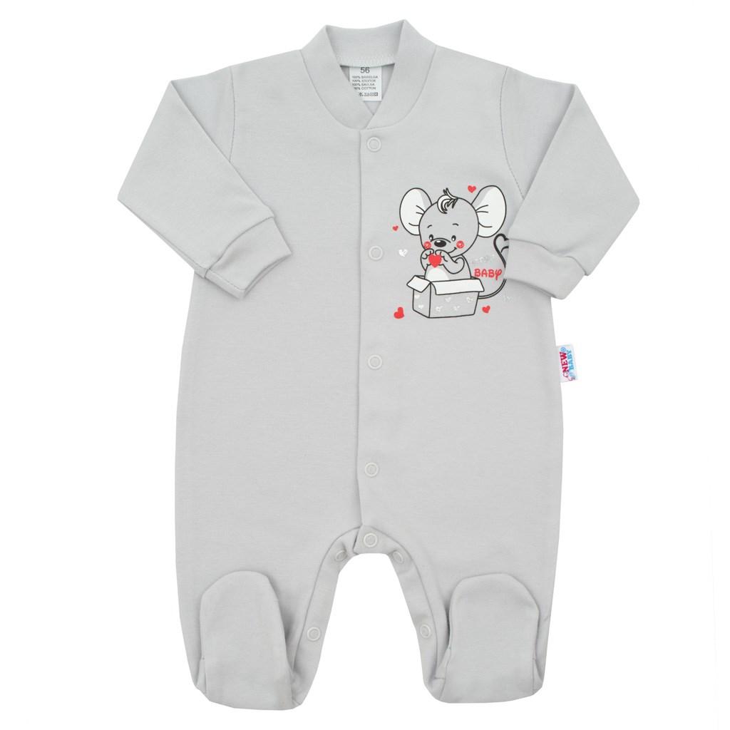Kojenecký overal New Baby Mouse šedý, Velikost: 56 (0-3m)