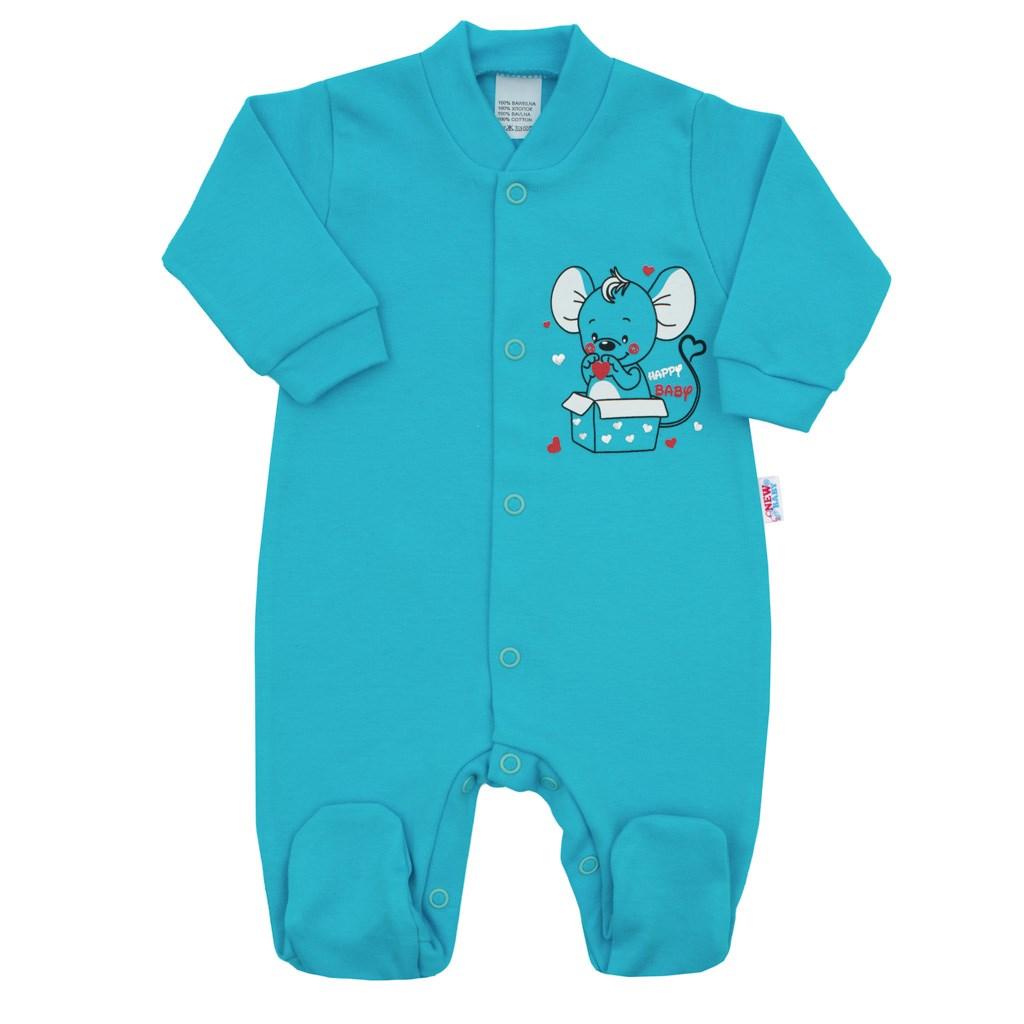 Kojenecký overal New Baby Mouse tyrkysový, Velikost: 56 (0-3m)