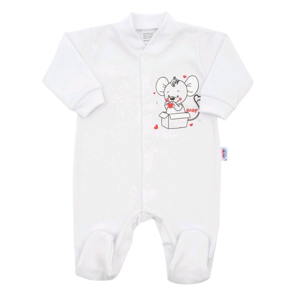 Kojenecký overal New Baby Mouse bílý, 62 (3-6m)