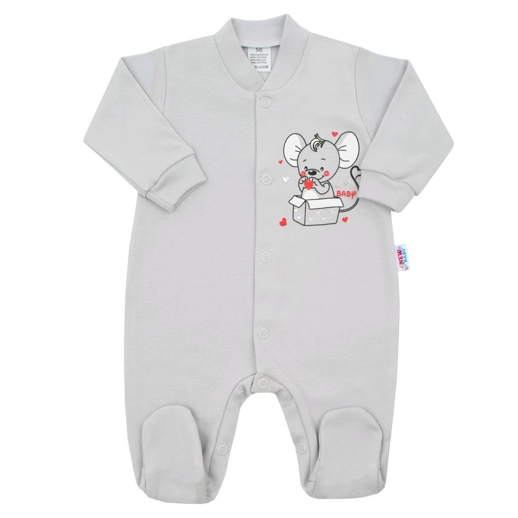 Kojenecký overal New Baby Mouse šedý, Velikost: 62 (3-6m)