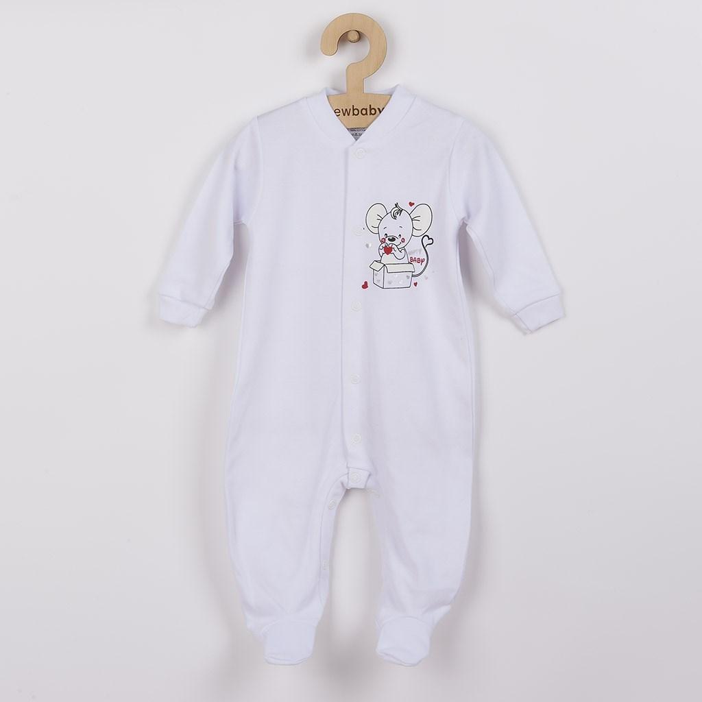 Kojenecký overal New Baby Mouse bílý, 68 (4-6m)