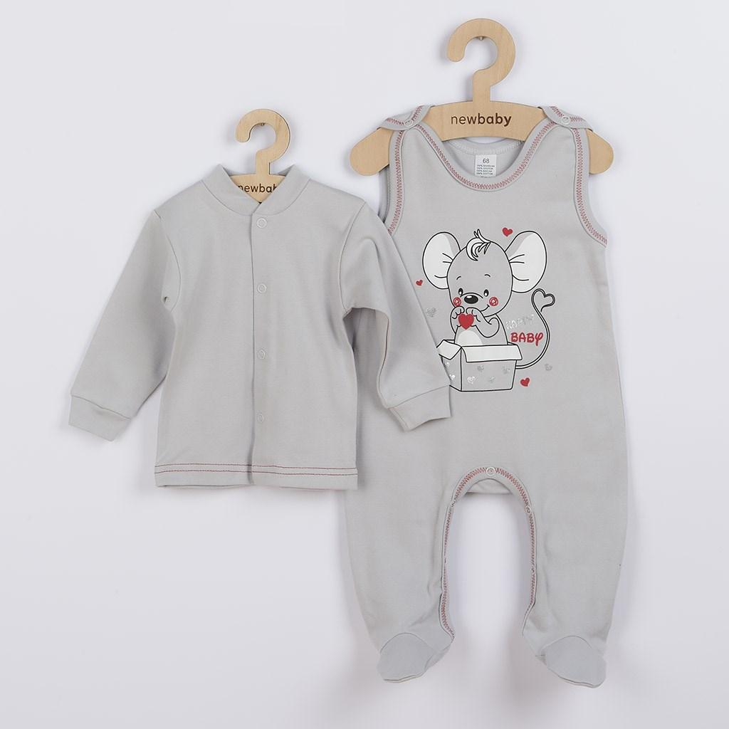 Kojenecká soupravička New Baby Mouse šedá, Velikost: 74 (6-9m)