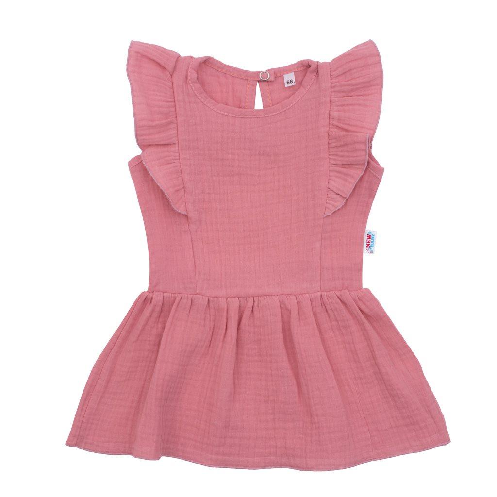 Kojenecké mušelínové šaty New Baby Summer Nature Collection růžové, 56 (0-3m)