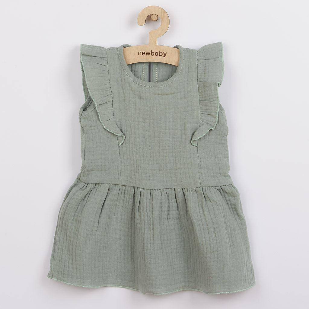 Kojenecké mušelínové šaty New Baby Summer Nature Collection mátové, vel. 86 (12-18m)