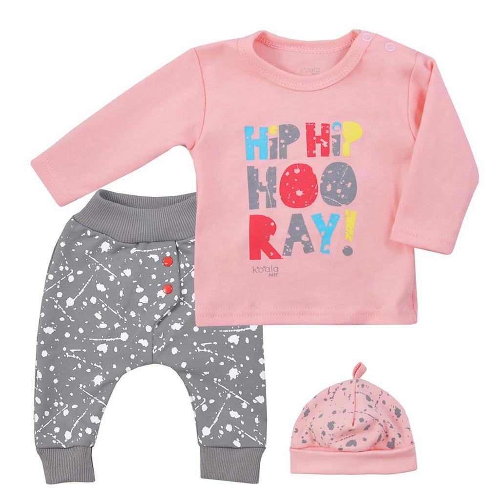 3-dílná dětská souprava Koala Hip-Hip růžová, Velikost: 80 (9-12m)