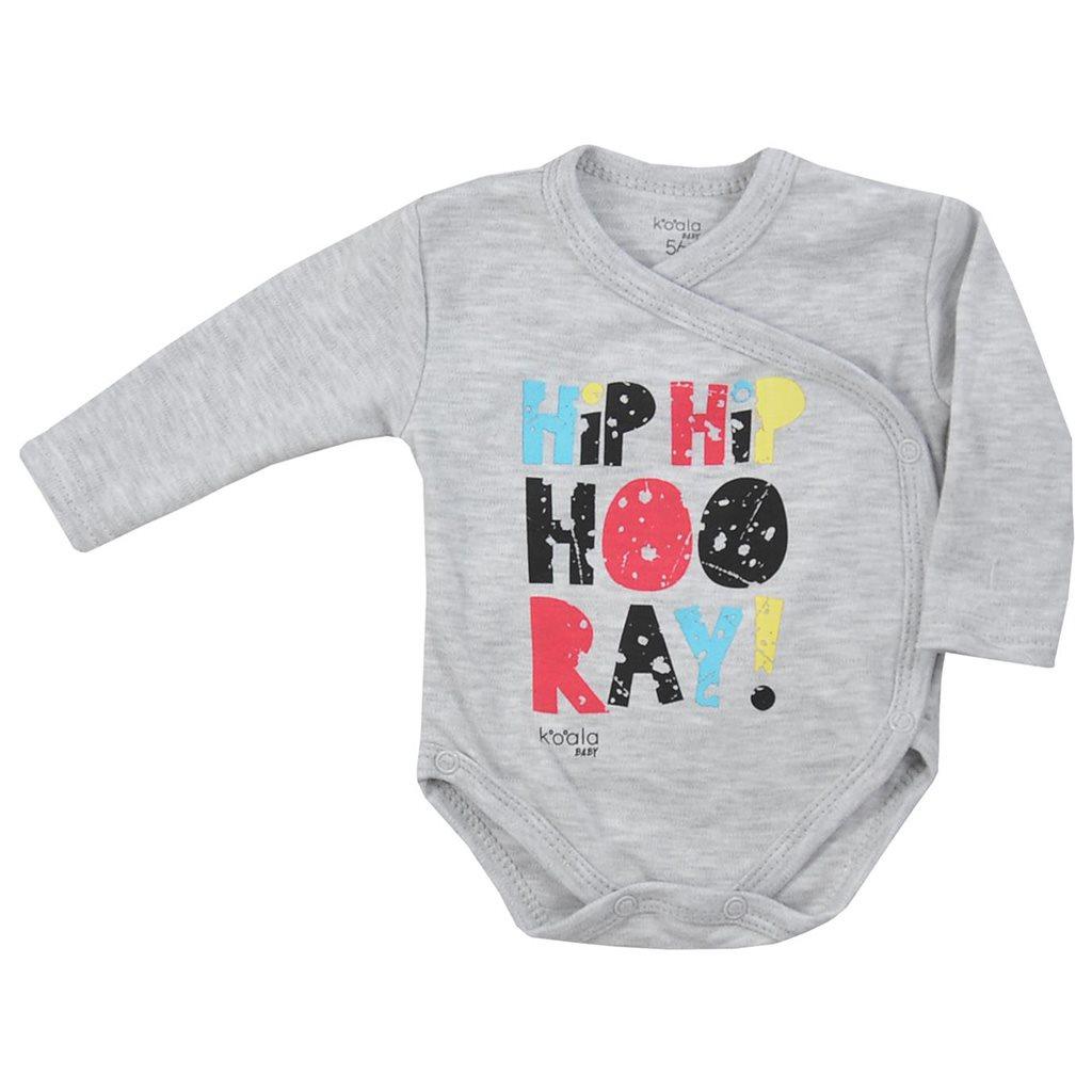 Kojenecké celorozepínací body Koala Hip-Hip šedé