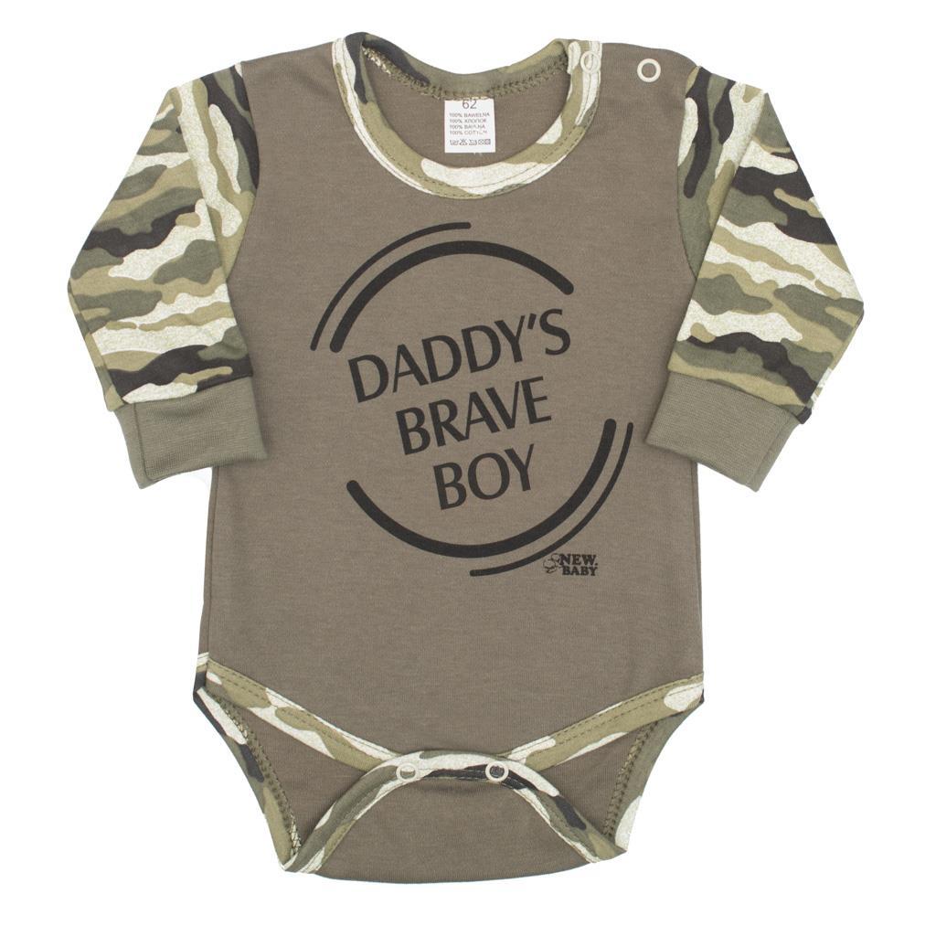 Kojenecké body s dlouhým rukávem New Baby Army boy, vel. 80 (9-12m)