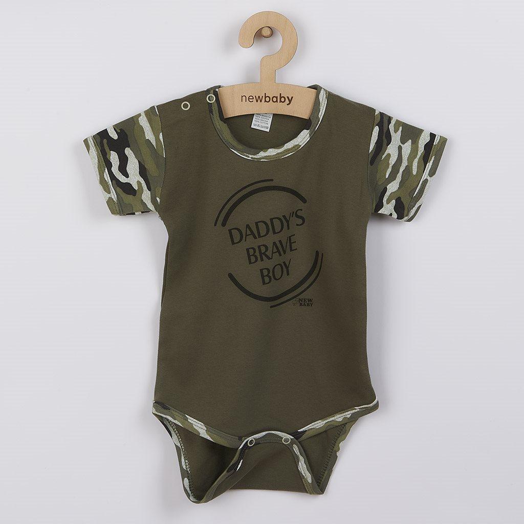Kojenecké body s krátkým rukávem New Baby Army boy, Velikost: 80 (9-12m)