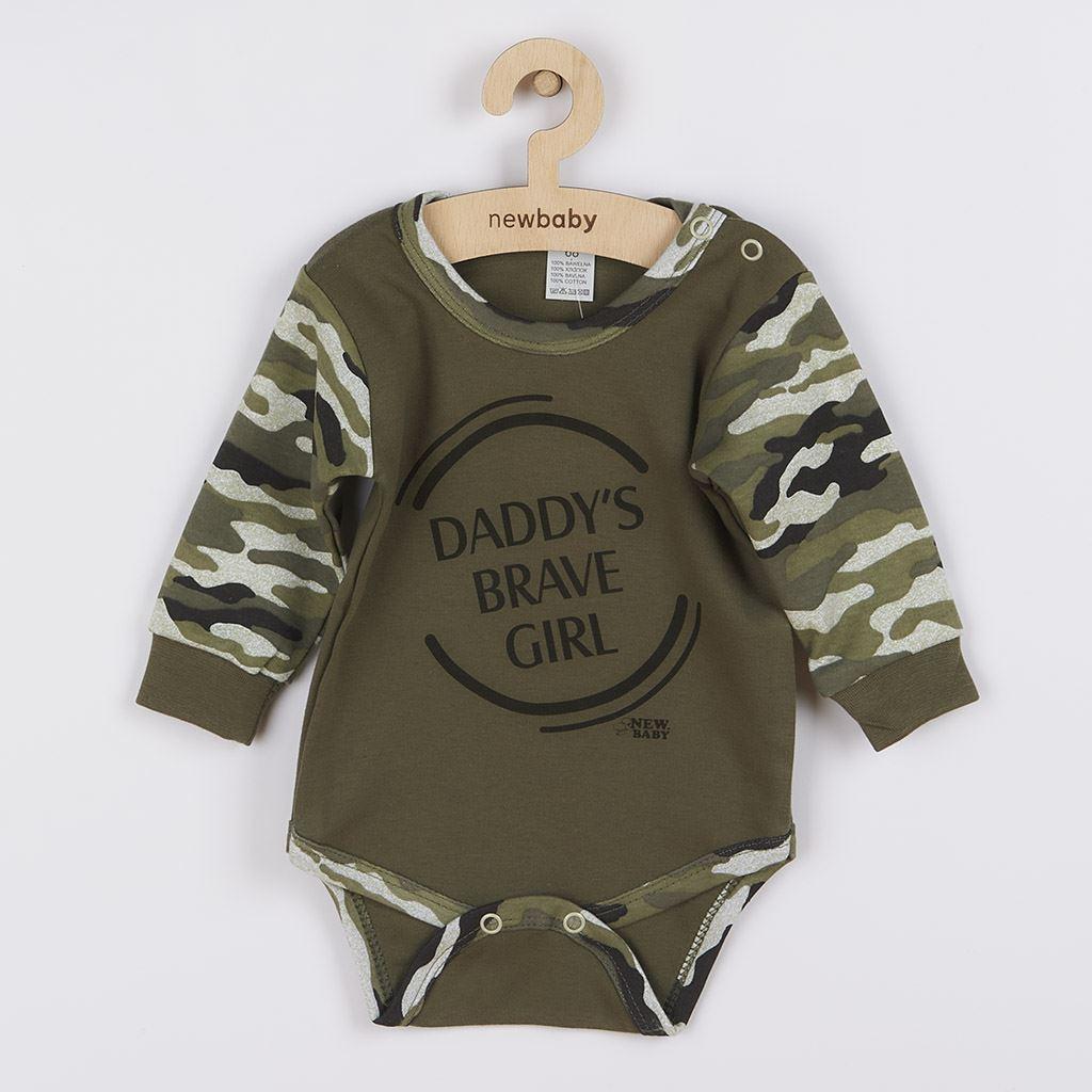 Kojenecké body s dlouhým rukávem New Baby Army girl, Velikost: 74 (6-9m)