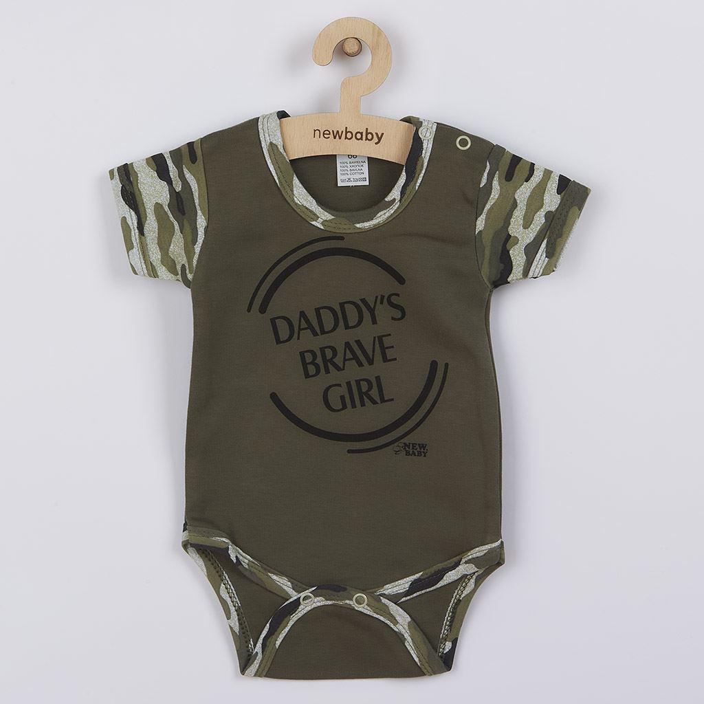 Kojenecké body s krátkým rukávem New Baby Army girl, 74 (6-9m)