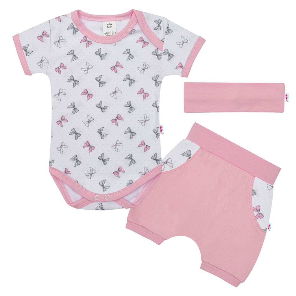 3-dílná letní bavlněná souprava New Baby Perfect Summer růžová, 56 (0-3m)