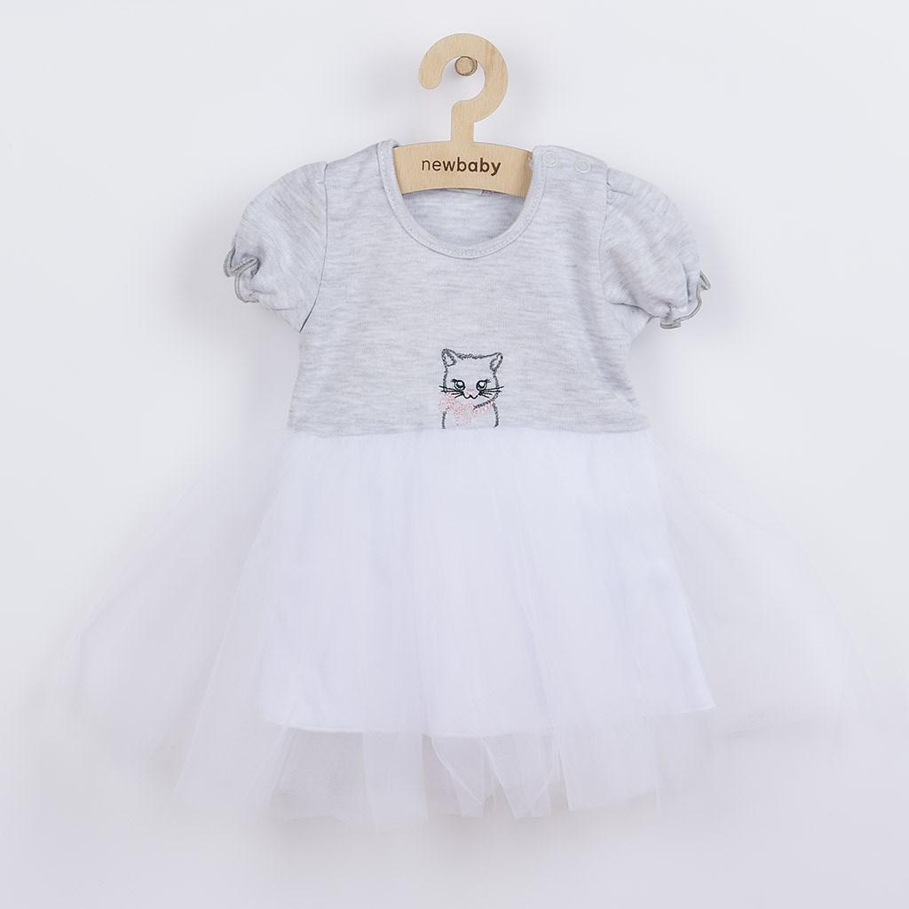 Kojenecké šatičky s tylovou sukýnkou New Baby Wonderful šedé, vel. 74 (6-9m)