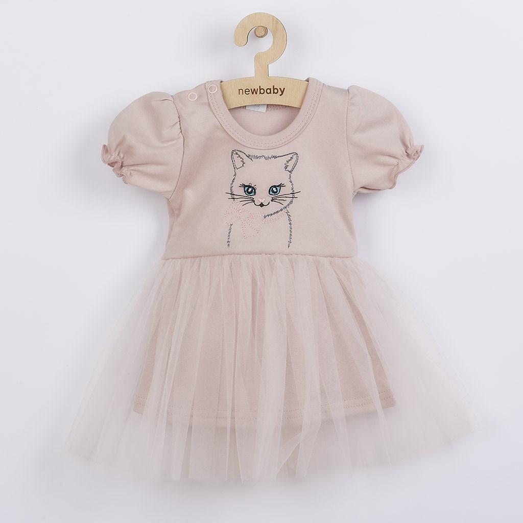 Kojenecké šatičky s tylovou sukýnkou New Baby Wonderful růžové, vel. 80 (9-12m)