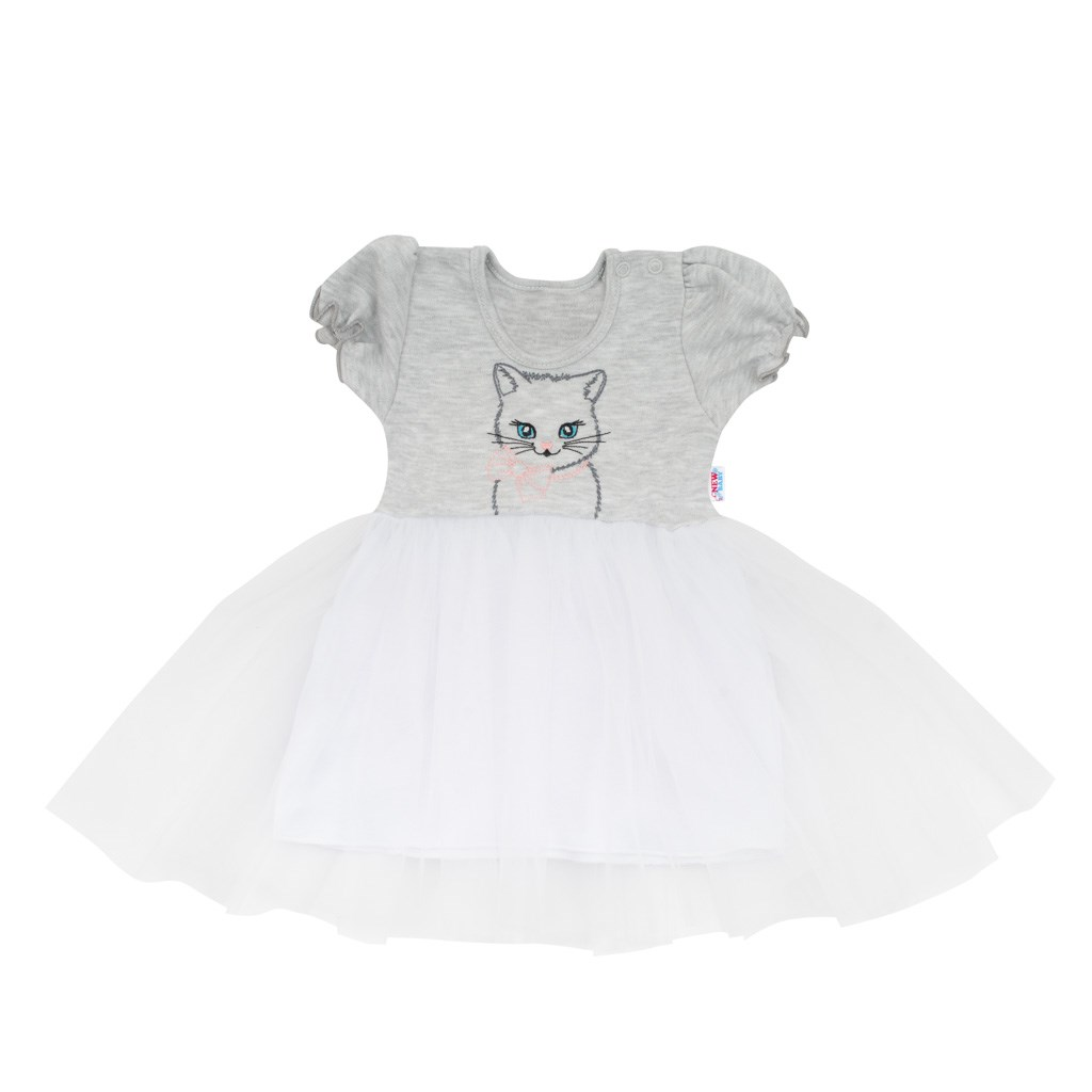 Kojenecké šatičky s tylovou sukýnkou New Baby Wonderful šedé, vel. 80 (9-12m)