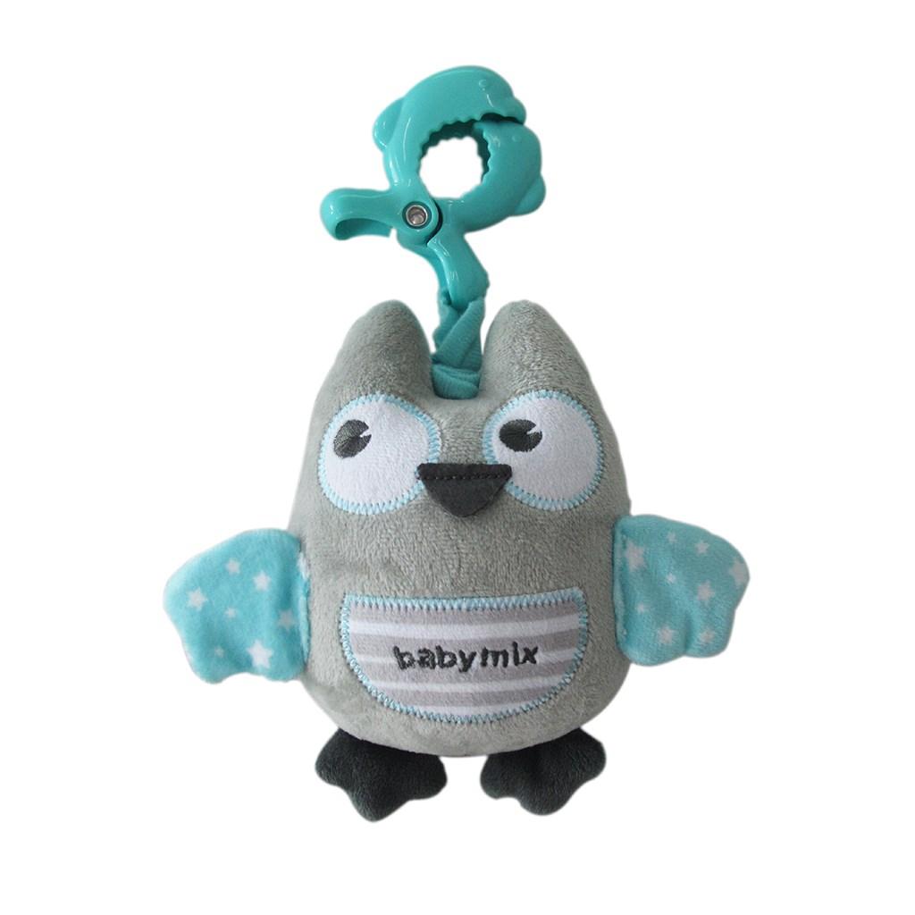 Edukační hrající plyšová hračka s klipem Baby Mix sova mátová