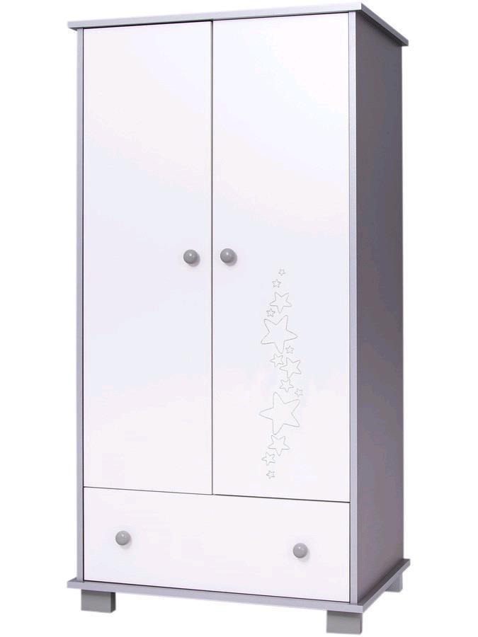 Dětská skříň Drewex Hvězdičky šedá