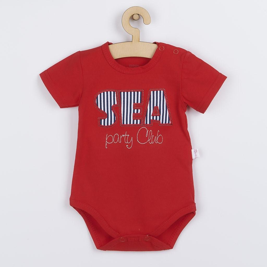 Kojenecké letní body Koala Sea Party červené, Velikost: 80 (9-12m)