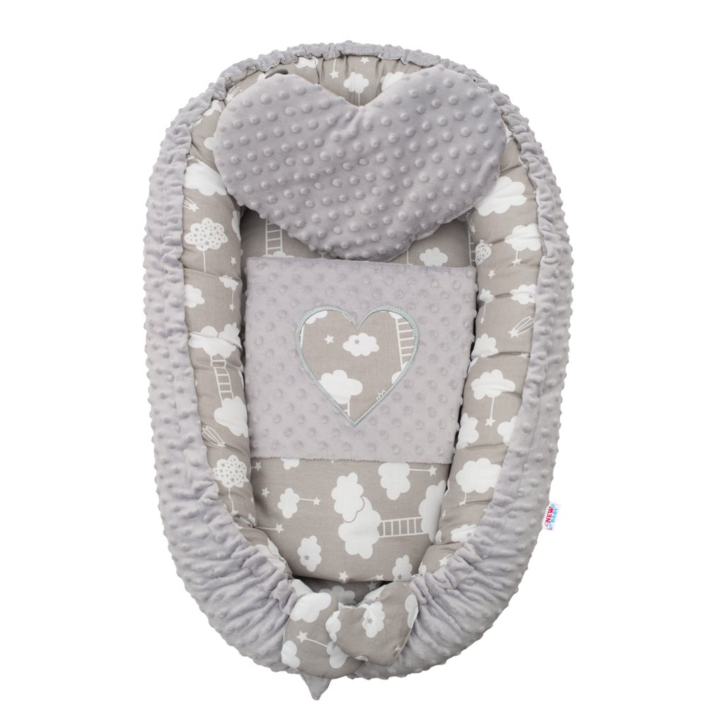 Luxusní hnízdečko s polštářkem a peřinkou New Baby Srdíčko Mráček