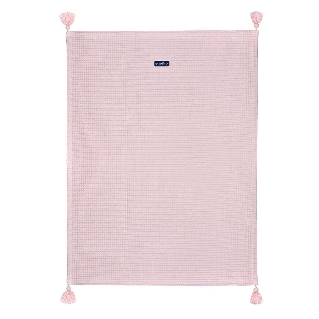 VAFLOVÁ bavlnená deka 75x100 ružová