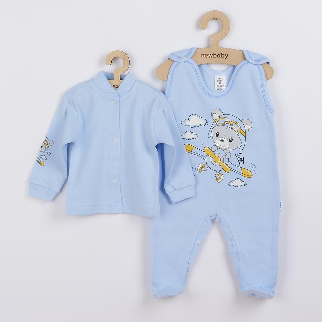 2-dílná souprava New Baby Teddy pilot modrá, 74 (6-9m)