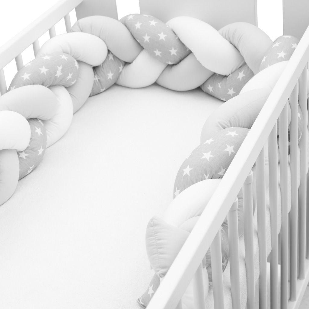 Ochranný mantinel do postýlky cop New Baby Hvězdičky šedo-bílý