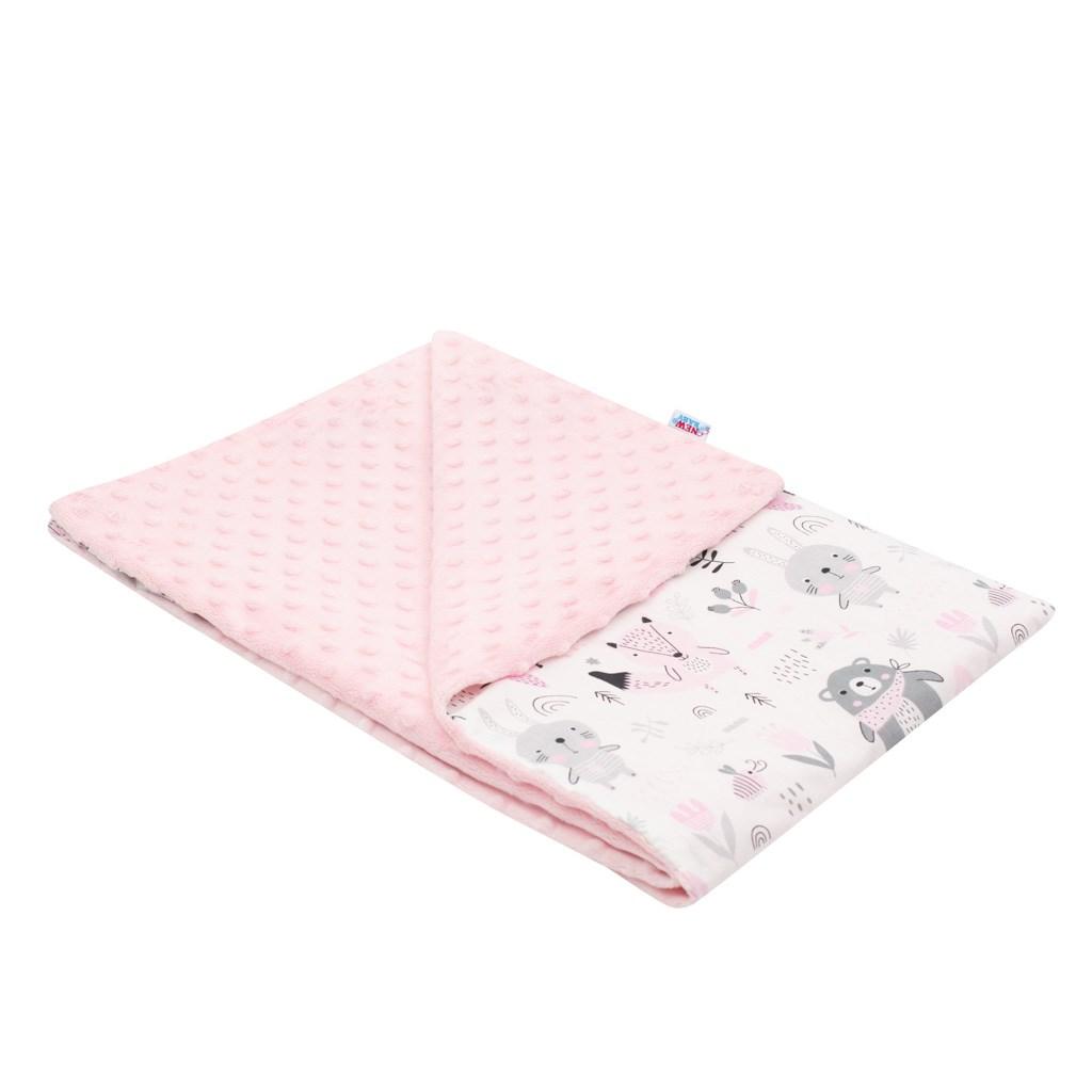 Dětská deka z Minky New Baby Medvídci růžová 80x102 cm