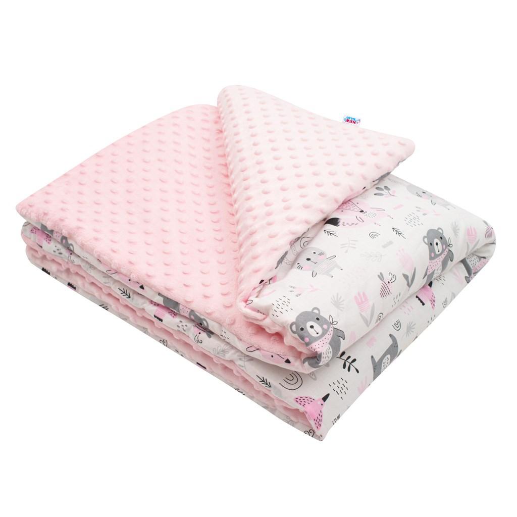 Dětská deka z Minky s výplní New Baby Medvídci růžová 80x102 cm