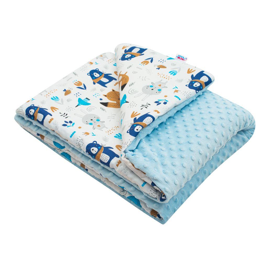 Dětská deka z Minky s výplní New Baby Medvídci modrá 80x102 cm