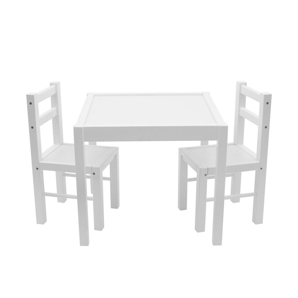 Dětský dřevěný stůl s židličkami New Baby PRIMA bílý